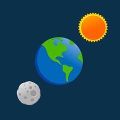 Earth Sun Moon Cartoon Drawing Design