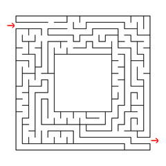 A square labyrinth with an entrance and an exit. Simple flat vector illustration isolated on white background. With a place for your image