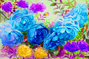 Painting watercolor flowers landscape colorful of roses.