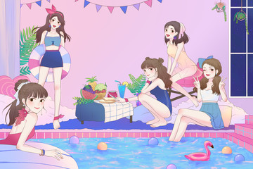 Cartoon illustration of cute Asian teen girls having fun and pool party in the large bathroom with swimsuit in vintage fashion style comic.