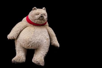A staffed grumpy teddy bear on a black background