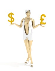 Young lady holding a symbols of currency. Pound and Dollar money sign. 3D rendering. Short elegant dress. Metallic material