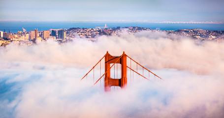 San Francisco Golden Gate Bridge in Thick Fog