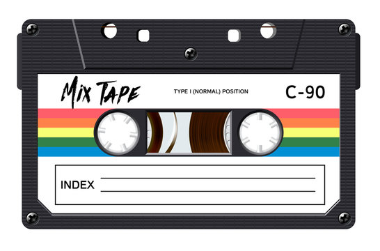 Cassette with retro label as vintage object for 80s revival mix tape design