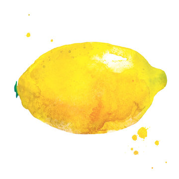 Lemon in watercolor style. Cute handwritten Illustration with lemon and watercolor splash for art and design background, banner, poster