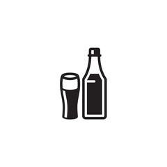 Bottles and glasses  - Vector Illustration
