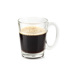 Glass of Black coffee isolated on a white background