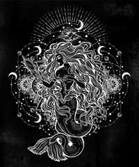 Mermaid girl with magic mirror in ornate mandala.