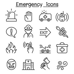 Emergency icon set in thin line style
