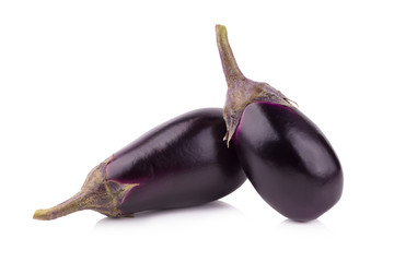 Eggplant or aubergine vegetable isolated on a white background