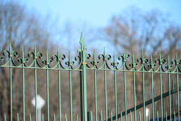forged metal fence of the Park on the sky background
