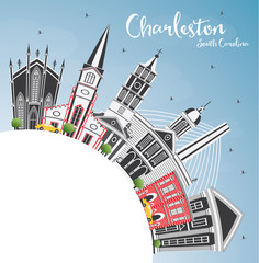 Charleston South Carolina City Skyline with Gray Buildings, Blue Sky and Copy Space.