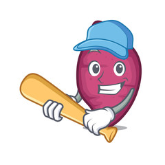 Playing baseball sweet potato character cartoon