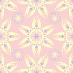 Floral seamless background. Pink, blue and yellow flower pattern