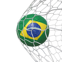 Brazil Brazilian flag soccer ball inside the net, in a net.