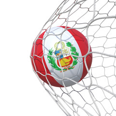 Peru Peruvian flag soccer ball inside the net, in a net.