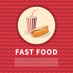 Hot dog with soda cup poster. Cute cartoon colored picture of fast food. Menu design elements. Vector illustration of fast food.
