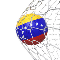 Venezuela Venezuelan flag soccer ball inside the net, in a net.