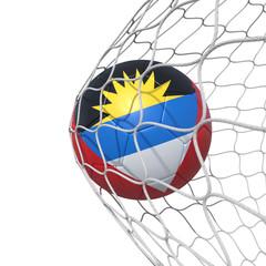 Antiguan Antigua and Barbuda flag soccer ball inside the net, in a net.
