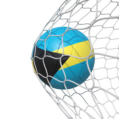 Bahamas Bahamians flag soccer ball inside the net, in a net.