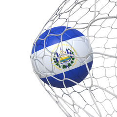 Salvador Salvadoran flag soccer ball inside the net, in a net.