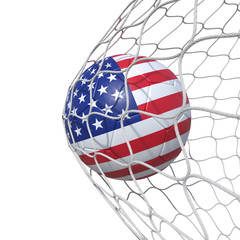 USA United States flag soccer ball inside the net, in a net.