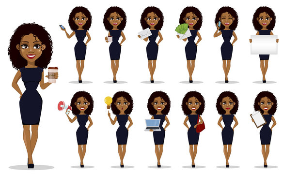 African American business woman, set