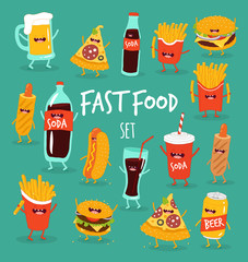 Funny fast food set. Vector illustration.