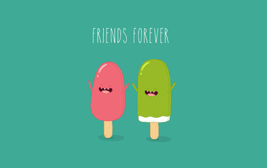 This is a vector illustration. The ice creams are friends forever. You can use for cards, fridge magnets, stickers, posters.
