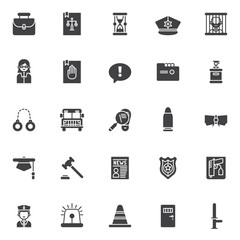 Justice and law vector icons set, modern solid symbol collection, filled style pictogram pack. Signs, logo illustration. Set includes icons as law book, hourglass, police hat, prison, lawyer, oath