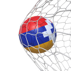 Artsakh Karabakh flag soccer ball inside the net, in a net.