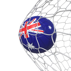 Australian Australia flag soccer ball inside the net, in a net.