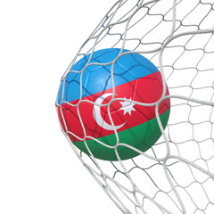 Azerbaijan flag soccer ball inside the net, in a net.