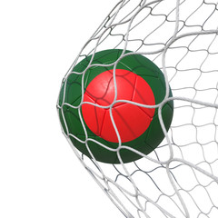 Bangladesh Bangladeshis flag soccer ball inside the net, in a net.
