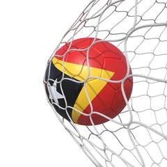 East Timor East Timorese flag soccer ball inside the net, in a net.