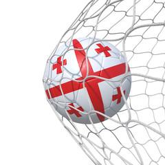 Georgia Georgian flag soccer ball inside the net, in a net.