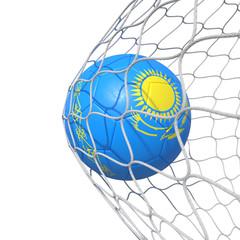 Kazakhstan flag soccer ball inside the net, in a net.