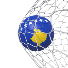 Kosovo Kosovans flag soccer ball inside the net, in a net.