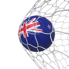 New Zealand New Zelandian flag soccer ball inside the net, in a net.