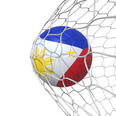 Philippines Philippine flag soccer ball inside the net, in a net.