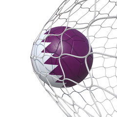 Qatar Qatari flag soccer ball inside the net, in a net.