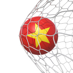 Vietnam Vietnamese flag soccer ball inside the net, in a net.