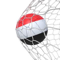 Yemen Yemeni Yemenite flag soccer ball inside the net, in a net.