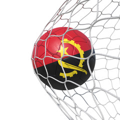 Angola Angolan flag soccer ball inside the net, in a net.