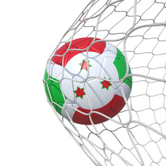 Burundian burundi flag soccer ball inside the net, in a net.