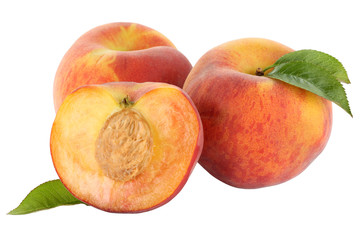 Peach peaches fruit fruits isolated on white