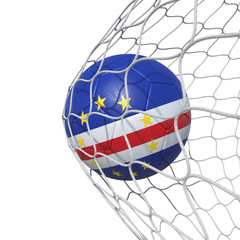 Cape Verde flag soccer ball inside the net, in a net.