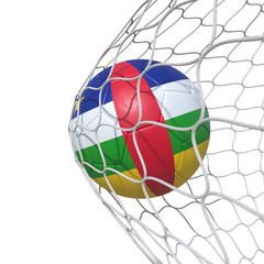 Central African Republic flag soccer ball inside the net, in a net.