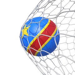 Congo Congolese New flag soccer ball inside the net, in a net.
