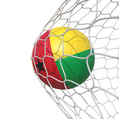 Guinea-Bissau flag soccer ball inside the net, in a net.
